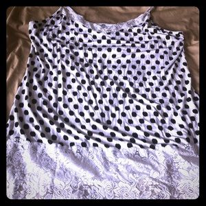 Black & White Tank Top with Lace Trim